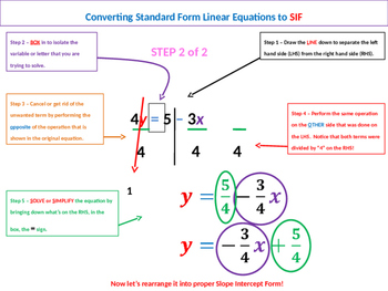 Converting Linear Equations from Standard Form to Slope Intercept Form