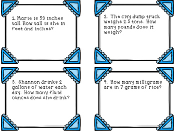 Converting Measurement Task Cards Customary and Metric System
