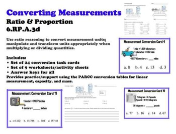 Converting Measurements 6.RP.3 Ratio Task Card Worksheet Common Core BUNDLE
