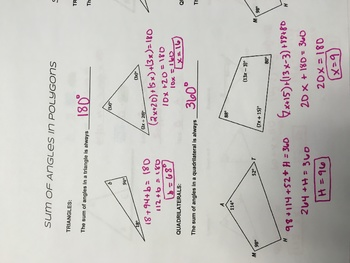 Sum of Angles in Polygons Notebook Page