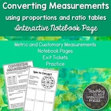Converting Measurements Math Notebook using Proportions