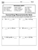 Converting Measurements Quiz