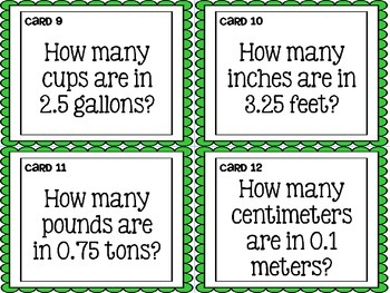 Converting Measurements Task Cards for Fifth Grade