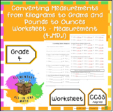 Converting Measurements from Kilograms to Grams, Pounds to Ounces Worksheet.