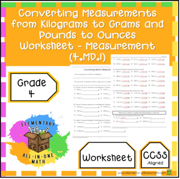 Converting Measurements from Kilograms to Grams, Pounds to ...