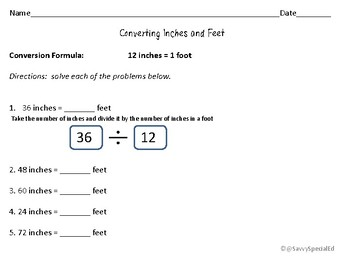 Converting Measurements- inches and feet