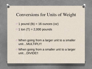 Converting Measurements of Weight PowerPoint