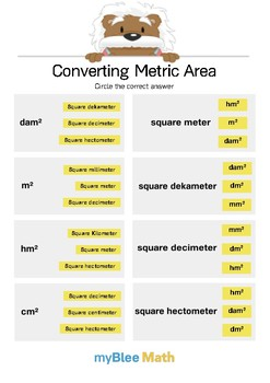 Converting Metric Area 1 - Circle the answer - Gr 4