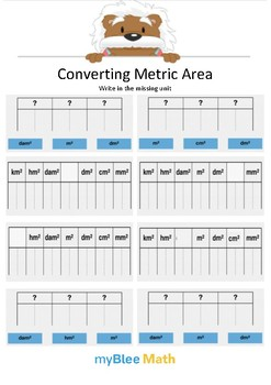 Converting Metric Area 2 - Write the missing unit - Gr 4