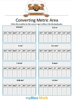 Converting Metric Area 3 - Write the number - Gr 4