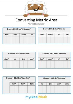Converting Metric Area 4 - Convert the number - Gr 5
