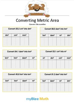 Converting Metric Area 5 - Convert the number - Gr 5