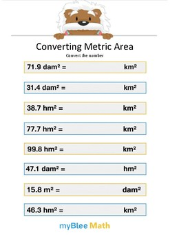 Converting Metric Area 6 - Convert the number - Gr 5