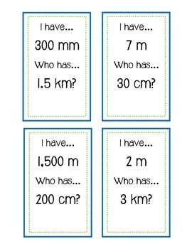 Converting Metric Measurements - I Have, Who Has?