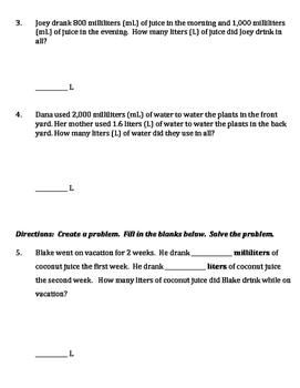 Converting Metric Measurements of Liquid Worksheet - Liters and Milliliters
