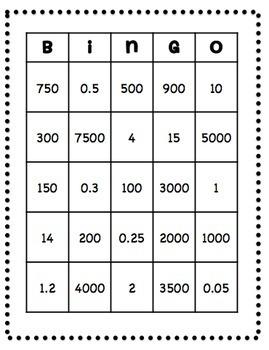 Converting Metric Units  Bingo
