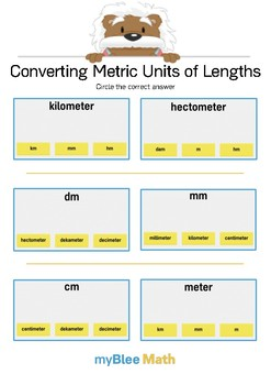 Converting Metric Units of Length 1 - Circle the answer - Gr 4