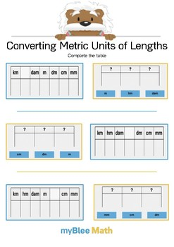 Converting Metric Units of Length 2 - Complete the table - Gr 4