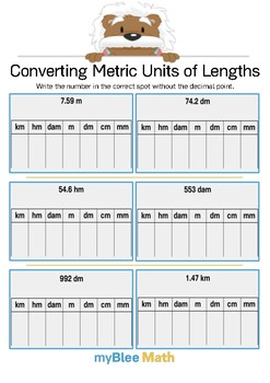 Converting Metric Units of Length 3 - Write the number - Gr 4