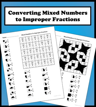 Converting Mixed Numbers To Improper Fractions Color Worksheet