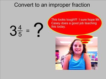 Converting Mixed Number to Improper Fractions - Smartboard Lesson