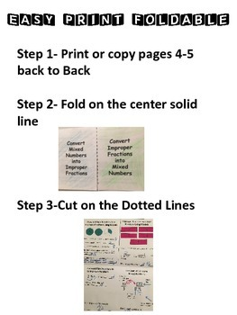 Mixed Numbers and Improper Fractions: Graphic Organizer-Foldable with Activity