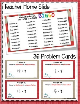 Converting Mixed Numbers and Improper Fractions Digital Bingo