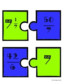 Converting Mixed Numbers and Improper Fractions Matching Game Activity