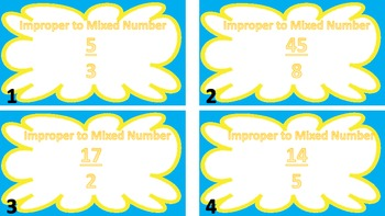 Converting Mixed Numbers and Improper Fractions Task Cards