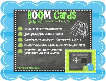 Converting Mixed Numbers to Improper Fractions Digital Boom Cards Task Cards