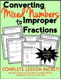 Converting Mixed Numbers to Improper Fractions (Lesson Packet, Notes, & Quiz)