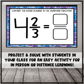 Converting Mixed Numbers to Improper Fractions Google Slide/ Digital Task Cards