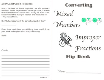 Converting Mixed and Improper Fractions Flip book (Differe