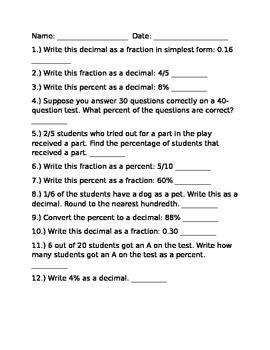 Converting Numbers Test