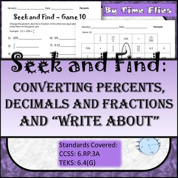 Converting Percents/Decimals/Fractions Activity