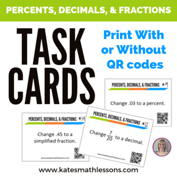 Converting Percents, Decimals, and Fractions Task Cards