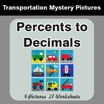 Converting Percents to Decimals - Color-By-Number Mystery Pictures