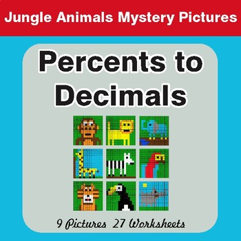Converting Percents to Decimals - Color-By-Number Mystery