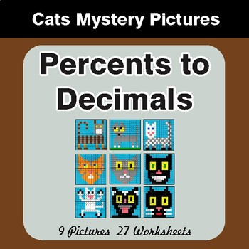 Converting Percents to Decimals - Color-By-Number Math Mystery Pictures
