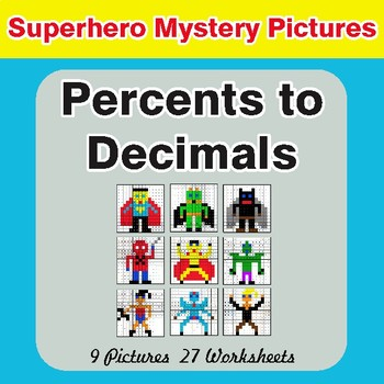 Converting Percents to Decimals - Color-By-Number Superhero Mystery Pictures