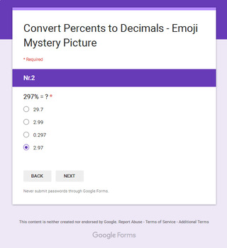 Converting Percents to Decimals - EMOJI Mystery Picture - Google Forms