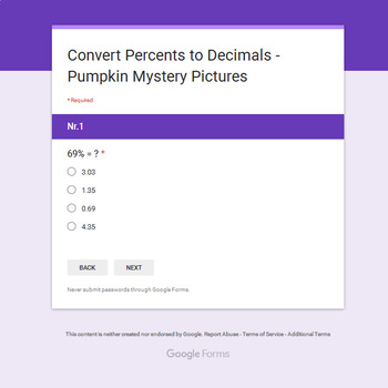 Converting Percents to Decimals - EMOJI PUMPKIN Mystery Picture - Google Forms