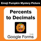 Converting Percents to Decimals - EMOJI PUMPKIN Mystery Picture - Google Forms