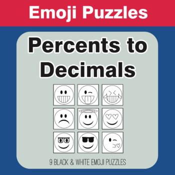Converting Percents to Decimals - Emoji Picture Puzzles