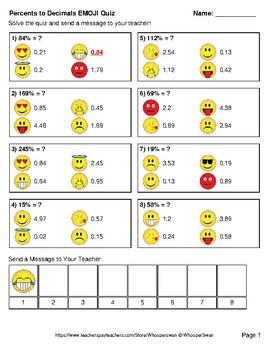 Converting Percents to Decimals Emoji Quiz