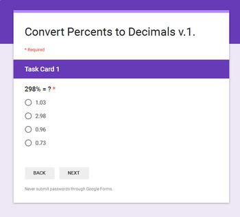 Converting Percents to Decimals - Interactive Digital Task Cards - Google Forms