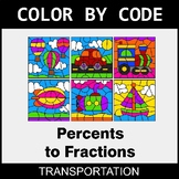 Converting Percents to Fractions - Color by Code - Transportation