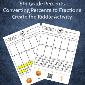 Converting Percents to Fractions Create the Riddle Activity
