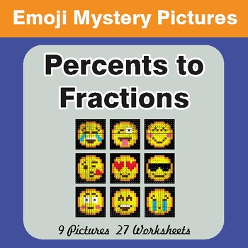 Converting Percents to Fractions EMOJI Mystery Pictures