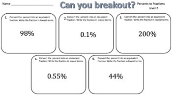 Converting Percents to Fractions – Two Breakout Activities!